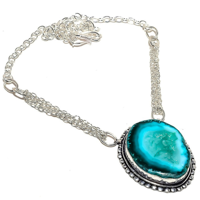 Aqua Deode Agate Druzy Gemstone Jewelry Necklace 18 Inches RN368
