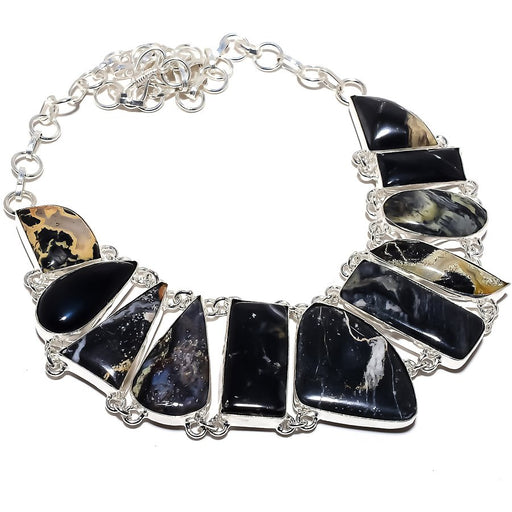 Silver Leaf Jasper Gemstone Jewelry Necklace 18 Inches RN381