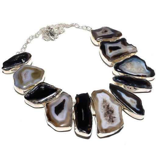 Botswana Slice Agate Druzy Ethnic Jewelry Necklace 18 Inches RN382