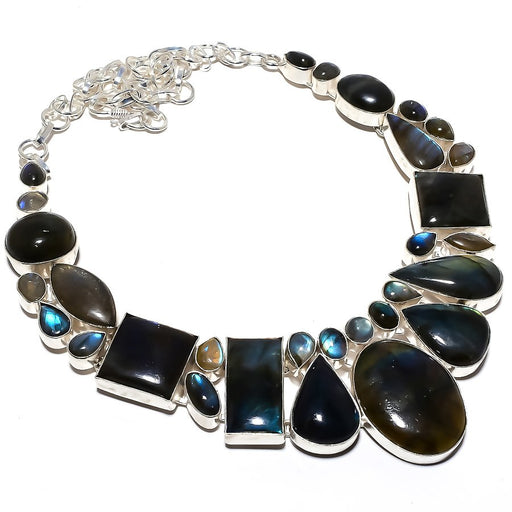 Labradorite Gemstone Handmade Jewelry Necklace 18 Inches RN383
