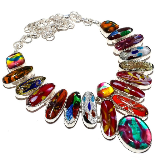 Dichroic Glass Gemstone Handmade Jewelry Necklace 18 Inches RN384