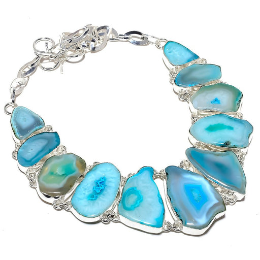 Blue Slice Agate Druzy Gemstone Jewelry Necklace 18 Inches RN388