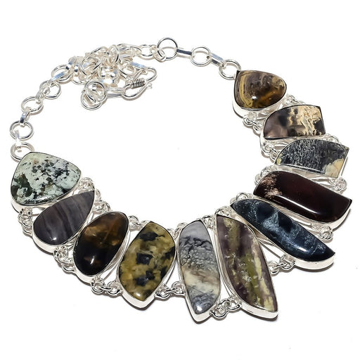 Ocean Jasper, Multi Gem Gemstone Jewelry Necklace 18 Inches RN389