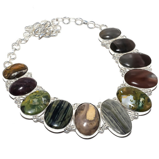 Multi Jasper Gemstone Handmade Jewelry Necklace 18 Inches RN390