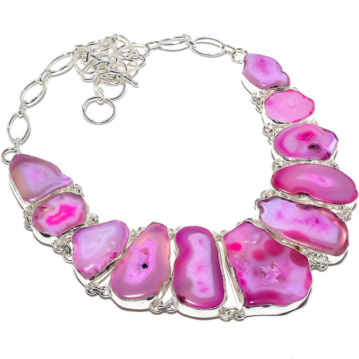 Pink Slice Agate Druzy Gemstone Jewelry Necklace 18 Inches RN393
