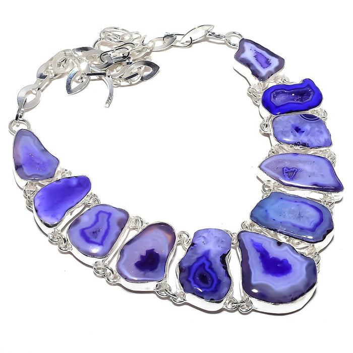 Blue Slice Agate Druzy Gemstone Jewelry Necklace 18 Inches RN394