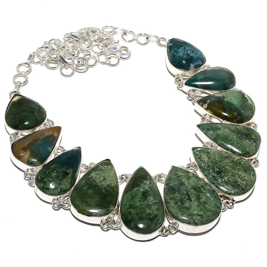Moss Agate Gemstone Handmade Jewelry Necklace 18 Inches RN396