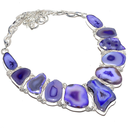 Purple Slice Agate Druzy Gemstone Jewelry Necklace 18 Inches RN397