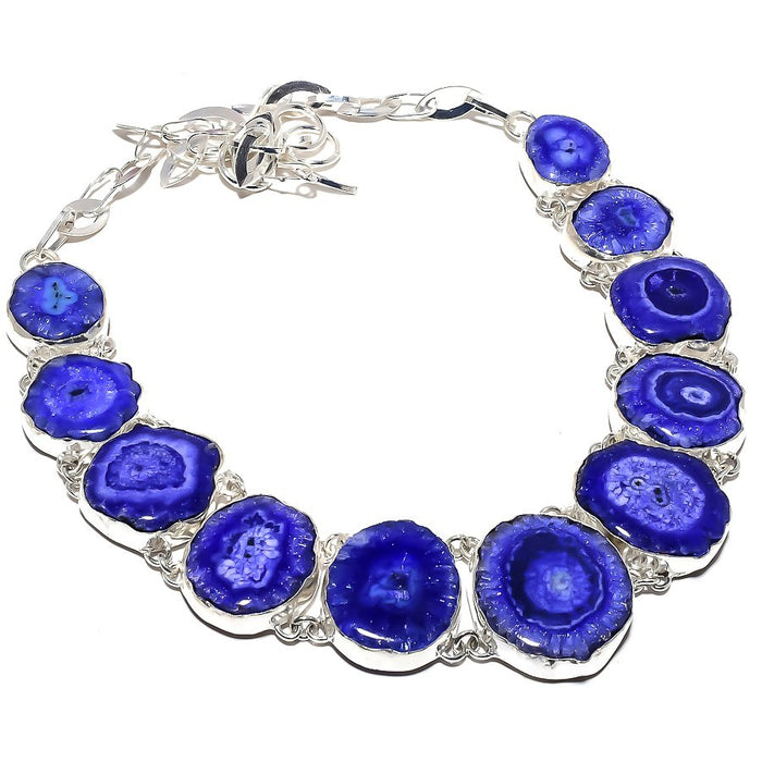 Blue Solar Quartz Druzy Gemstone Jewelry Necklace 18 Inches RN398