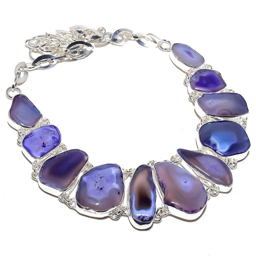 Purple Slice Agate Druzy Gemstone Jewelry Necklace 18 Inches RN399