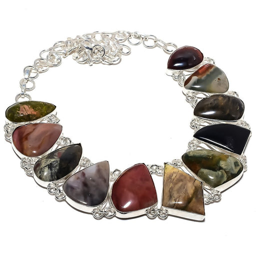 Multi Jasper Gemstone Handmade Jewelry Necklace 18 Inches RN400