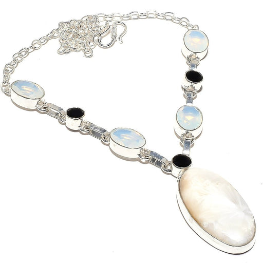 Scolecite, Milky Opal Gemstone Jewelry Necklace 18 Inches RN40