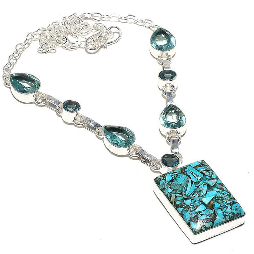 Mosaic Blue Turquoise, Blue Topaz Jewelry Necklace 18 Inches RN44