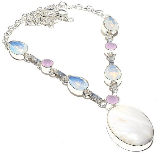 Selenite, Milky Opal Gemstone Jewelry Necklace 18 Inches RN45