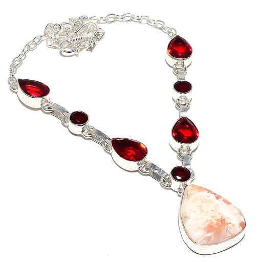 Scolecite, Garnet Gemstone Ethnic Jewelry Necklace 18 Inches RN54