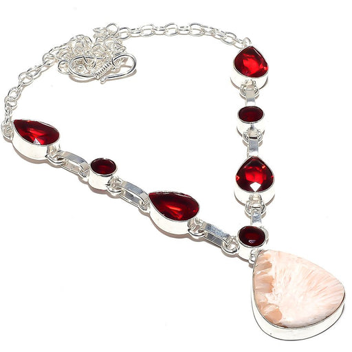Scolecite, Garnet Gemstone Ethnic Jewelry Necklace 18 Inches RN66
