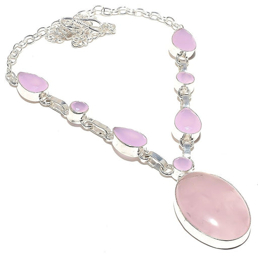 Rose Quartz Gemstone Handmade Jewelry Necklace 18 Inches RN67