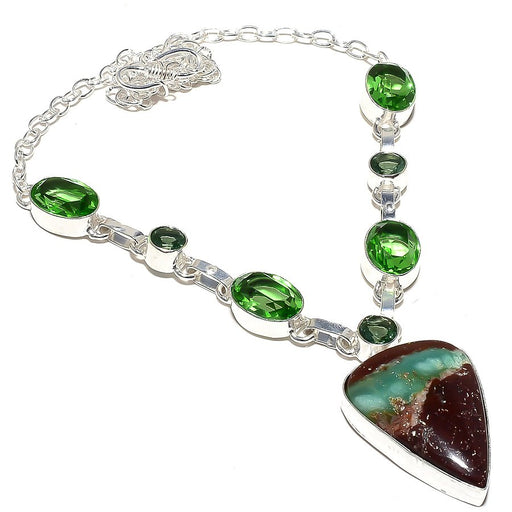 Boulder Chrysoprase, Peridot Jewelry Necklace 18 Inches RN68