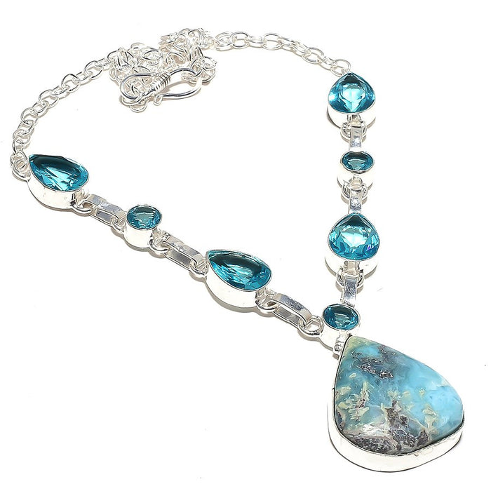 Caribbean Larimar, Blue Topaz Jewelry Necklace 18 Inches RN74