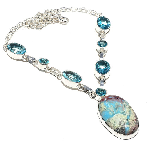 Caribbean Larimar, Blue Topaz Jewelry Necklace 18 Inches RN83