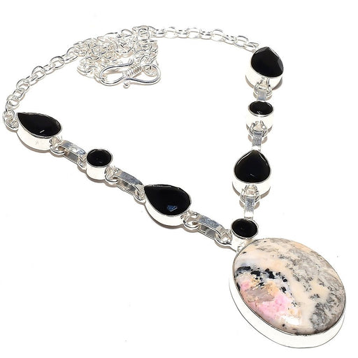 Pink Calcite, Black Onyx Gemstone Jewelry Necklace 18 Inches RN90