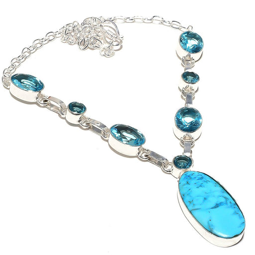 Sleeping Turquoise, Blue Topaz Jewelry Necklace 18 Inches RN96