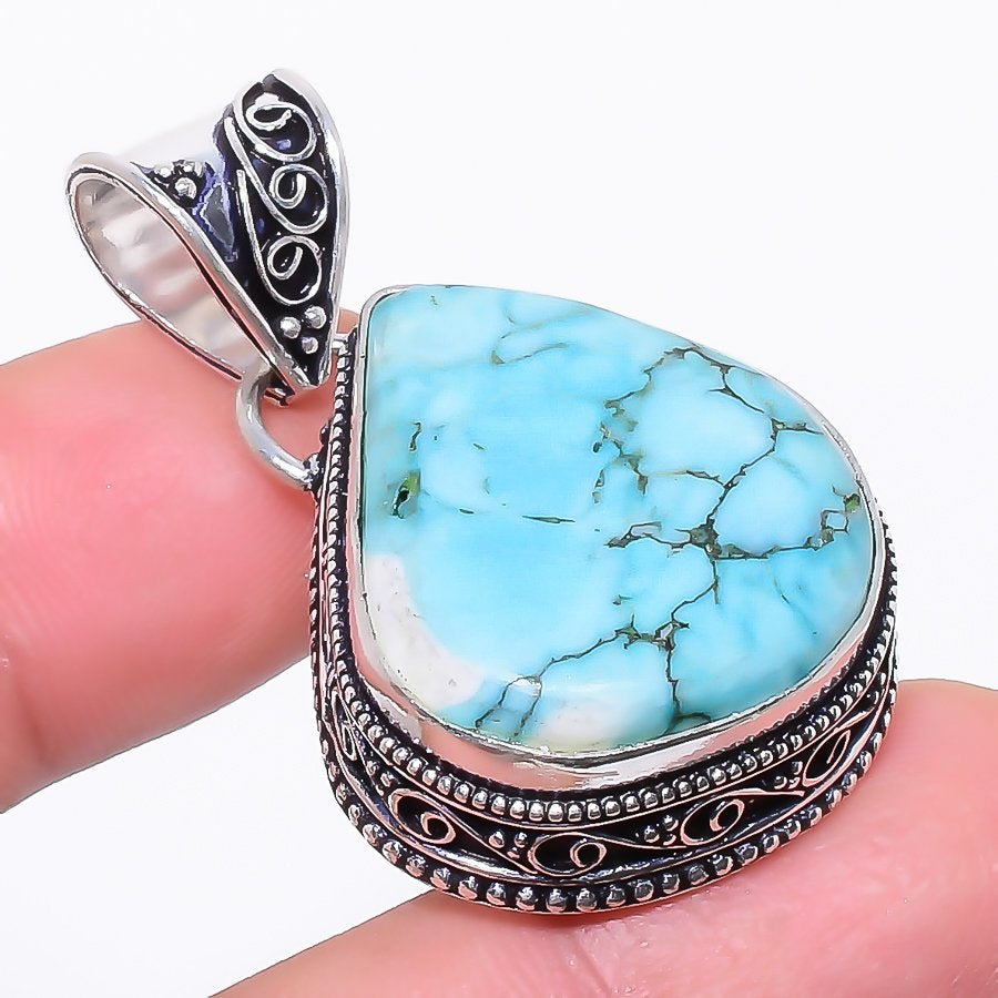 Santa Rosa Turquoise Gemstone Jewelry Pendant 1.7 Inches RP101
