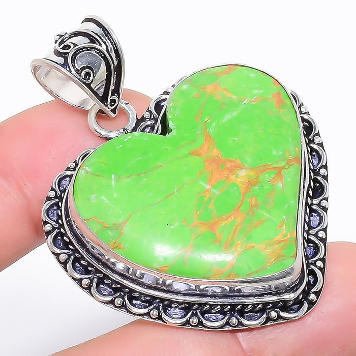 Heart - Copper Green Turquoise Jewelry Pendant 2.0 Inches RP1225