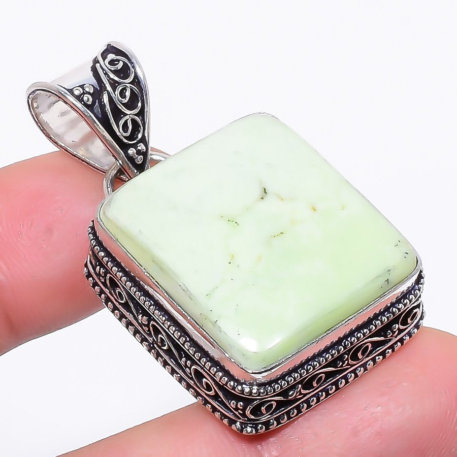 Lemon Chrysoprase Vintage Jewelry Pendant 1.7 Inches RP124