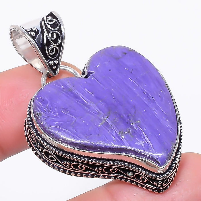 Heart - Charoite Gemstone Vintage Jewelry Pendant 1.9 Inches RP126