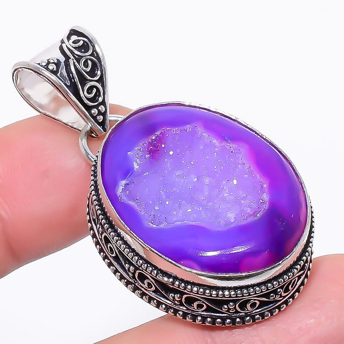 Purple Agate Druzy Vintage Jewelry Pendant 1.9 Inches RP130