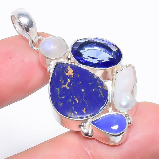 Copper Blue Turquoise Jewelry Pendant 1.9 Inches RP1478