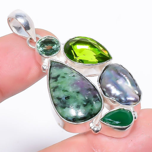 Ruby In Zoisite, Peridot Ethnic Jewelry Pendant 2.0 Inches RP1493