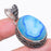 Blue Agate Druzy Gemstone Vintage Jewelry Pendant 1.8 Inches RP149
