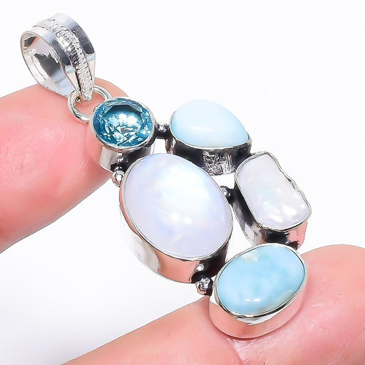 Rainbow Moonstone, Larimar Jewelry Pendant 2.0 Inches RP1540