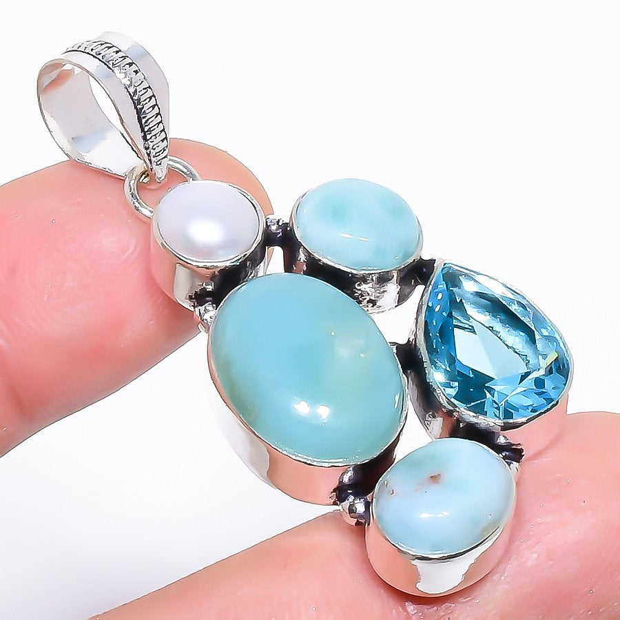 Caribbean Larimar, Blue Topaz Jewelry Pendant 2.0 Inches RP1541