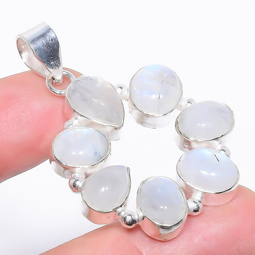 Rainbow Moonstone Gemstone Jewelry Pendant 1.9 Inches RP1549
