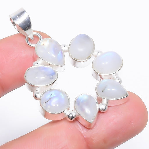 Rainbow Moonstone Gemstone Jewelry Pendant 1.9 Inches RP1565