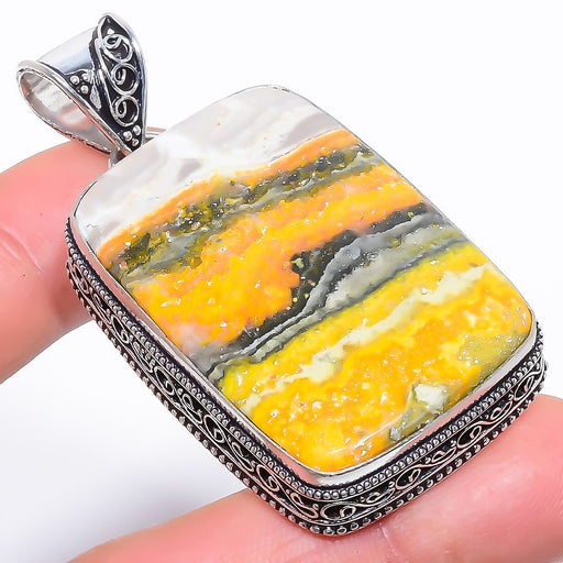 Bumble Bee Jasper Vintage Jewelry Pendant 2.4 Inches RP1599