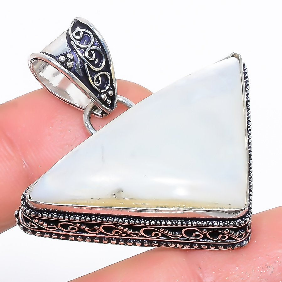 Mother Of Pearl Gemstone Vintage Jewelry Pendant 1.6 Inches RP1674
