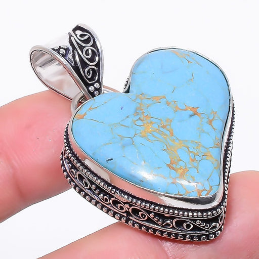Heart - Copper Blue Turquoise Jewelry Pendant 1.8 Inches RP173