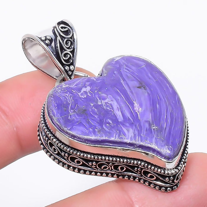Heart - Charoite Gemstone Vintage Jewelry Pendant 1.8 Inches RP174