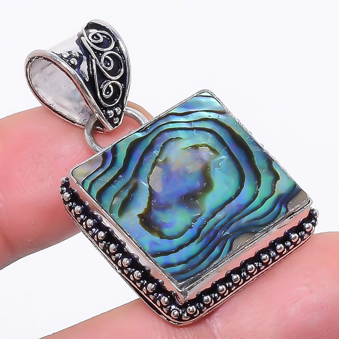 Abalone Shell Gemstone Handmade Jewelry Pendant 1.6 Inches RP29