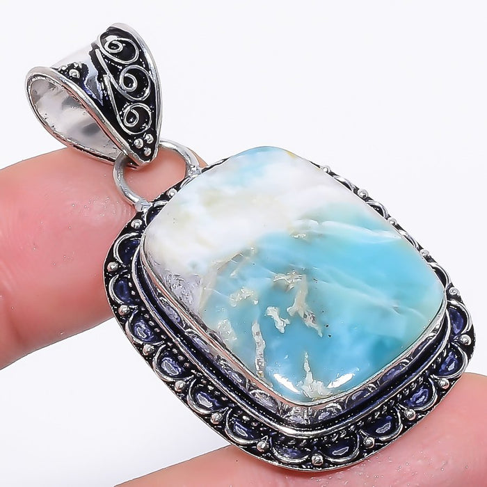 Caribbean Larimar Gemstone Ethnic Jewelry Pendant 1.9 Inches RP65