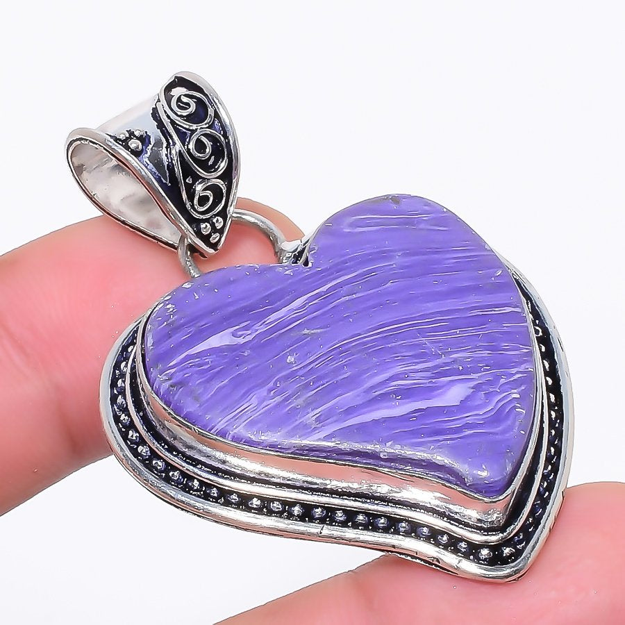 Heart - Charoite Gemstone Handmade Jewelry Pendant 2.0 Inches RP80