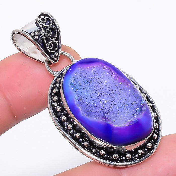 Purple Agate Druzy Gemstone Ethnic Jewelry Pendant 1.9 Inches RP9