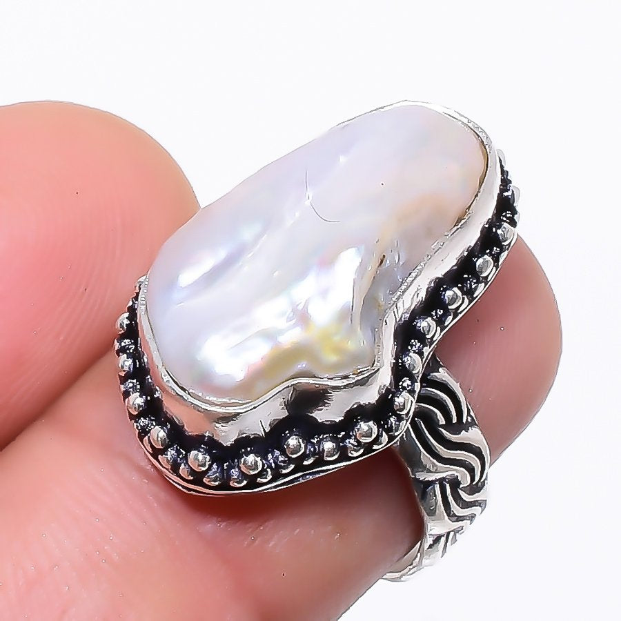 Blister Biwa Pearl Gemstone Jewelry Ring Size 7 RR100