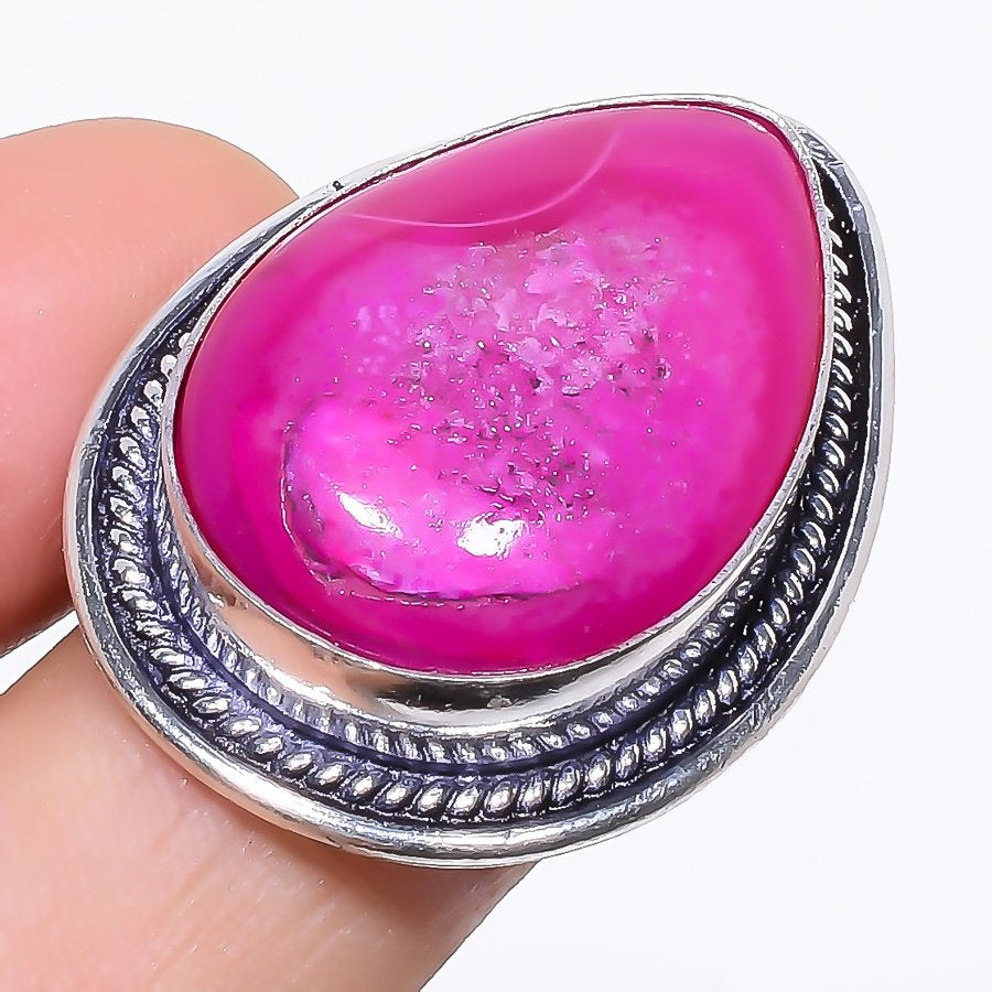Pink Agate Druzy Gemstone Ethnic Jewelry Ring Size 7 RR101