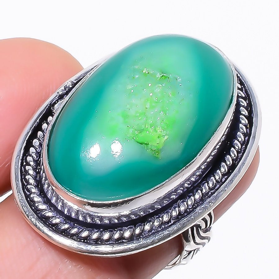 Green Agate Druzy Gemstone Ethnic Jewelry Ring Size 5.5 RR102