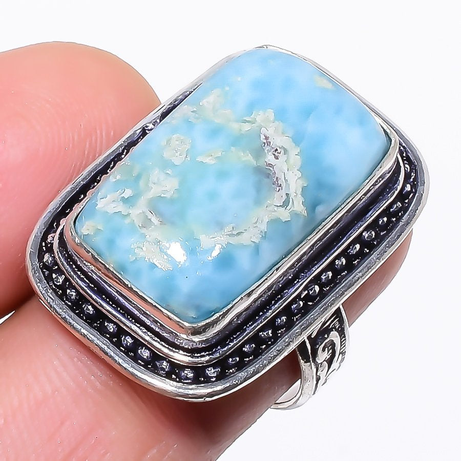 Caribbean Larimar Gemstone Ethnic Jewelry Ring Size 6.5 RR106